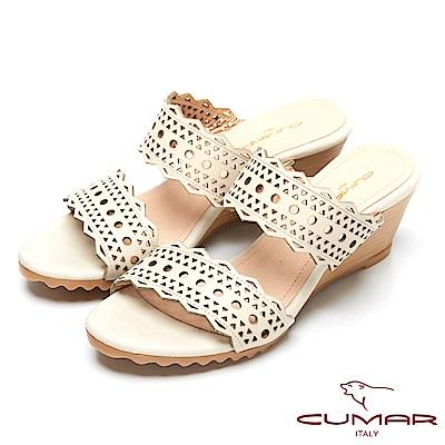 CUMAR涼夏單品-時尚簍空設計坡跟涼鞋-米色
