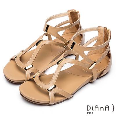 DIANA 簡約韓風—羅馬層次交叉線條楔型涼鞋 –棕