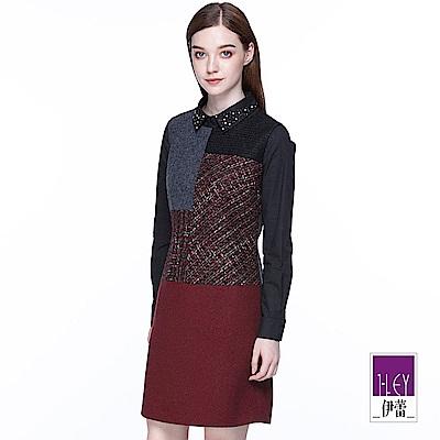 ILEY伊蕾 幾何織紋拼接羊毛背心洋裝(紅)