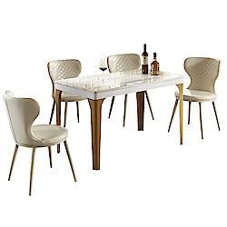 AT HOME-現代4尺大理石面鐵藝餐桌椅組-一桌四椅(120*70*75cm)