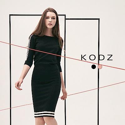 東京著衣-KODZ雜誌爆款潮流修身撞色設計針織套裝-S.M.L(共二色)