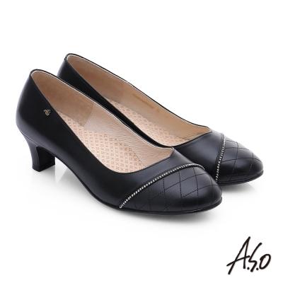 A.S.O 舒活寬楦 真皮壓紋低跟鞋 黑
