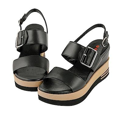 BESO 簡約玩美 全真皮寬版一字帶釦環厚底涼鞋~黑