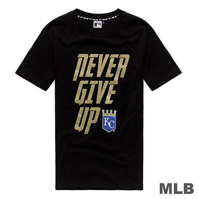 MLB-堪薩斯皇家隊標語印花短T-黑 (男)