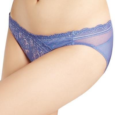 思薇爾 莫內花宴系列M-XL刺繡蕾絲低腰三角褲(印象紫)
