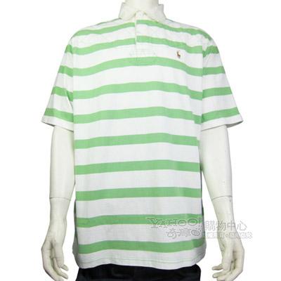 Ralph Lauren 小馬粗細條紋POLO男衫(綠白)