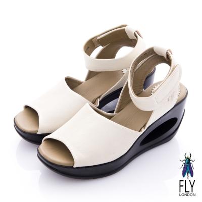 Fly London(女) 鄰家女孩 魚口繫踝洞力高跟涼鞋 - 白 @ Y!購物