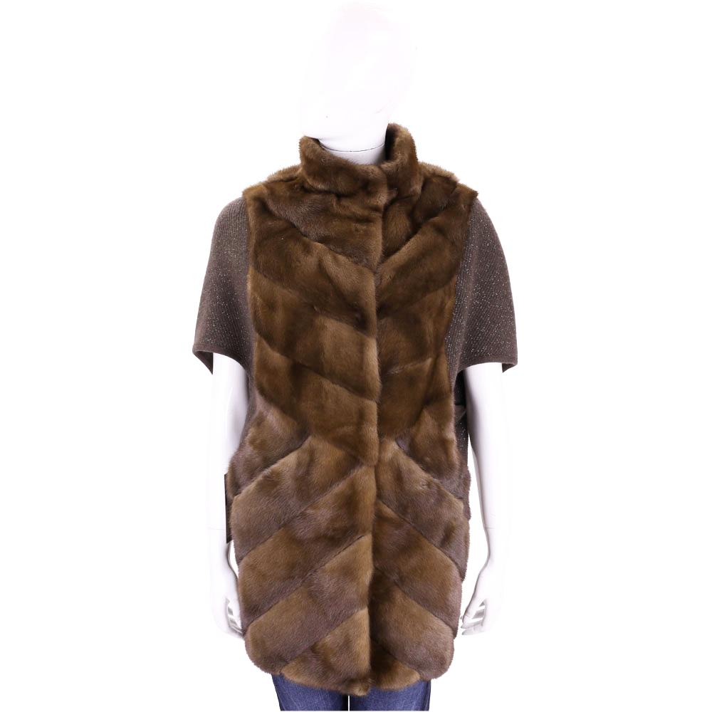GRANDI furs 咖啡色斜線車縫皮草五分袖外套(70%WOOL)