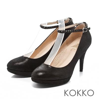 KOKKO-浪漫花園水鑽踝帶羊皮高跟鞋-經典黑