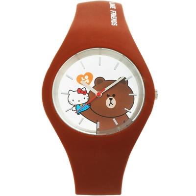HELLO KITTY 凱蒂貓 x LINE 限量聯名超萌熊大手錶-咖啡/40mm