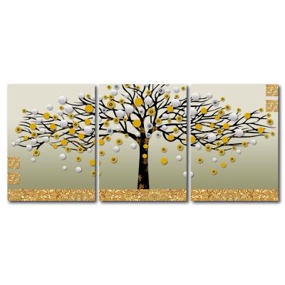 美學365-三聯無框圖畫藝術家飾品掛畫油畫-發財樹-30x40cm