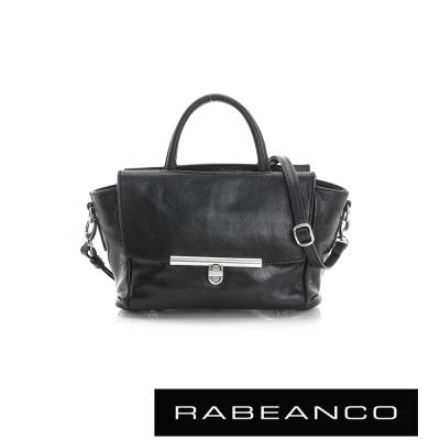 RABEANCO-迷時尚系列經典轉扣兩用小手提包-黑