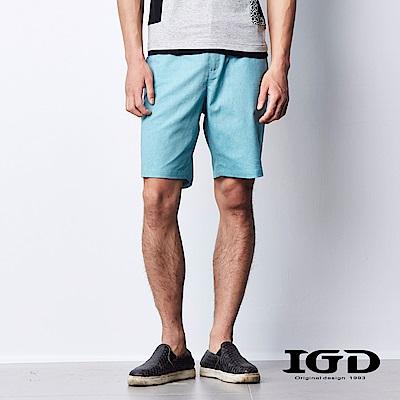 IGD英格麗 都會百搭斜紋口袋撞色休閒短褲-綠色