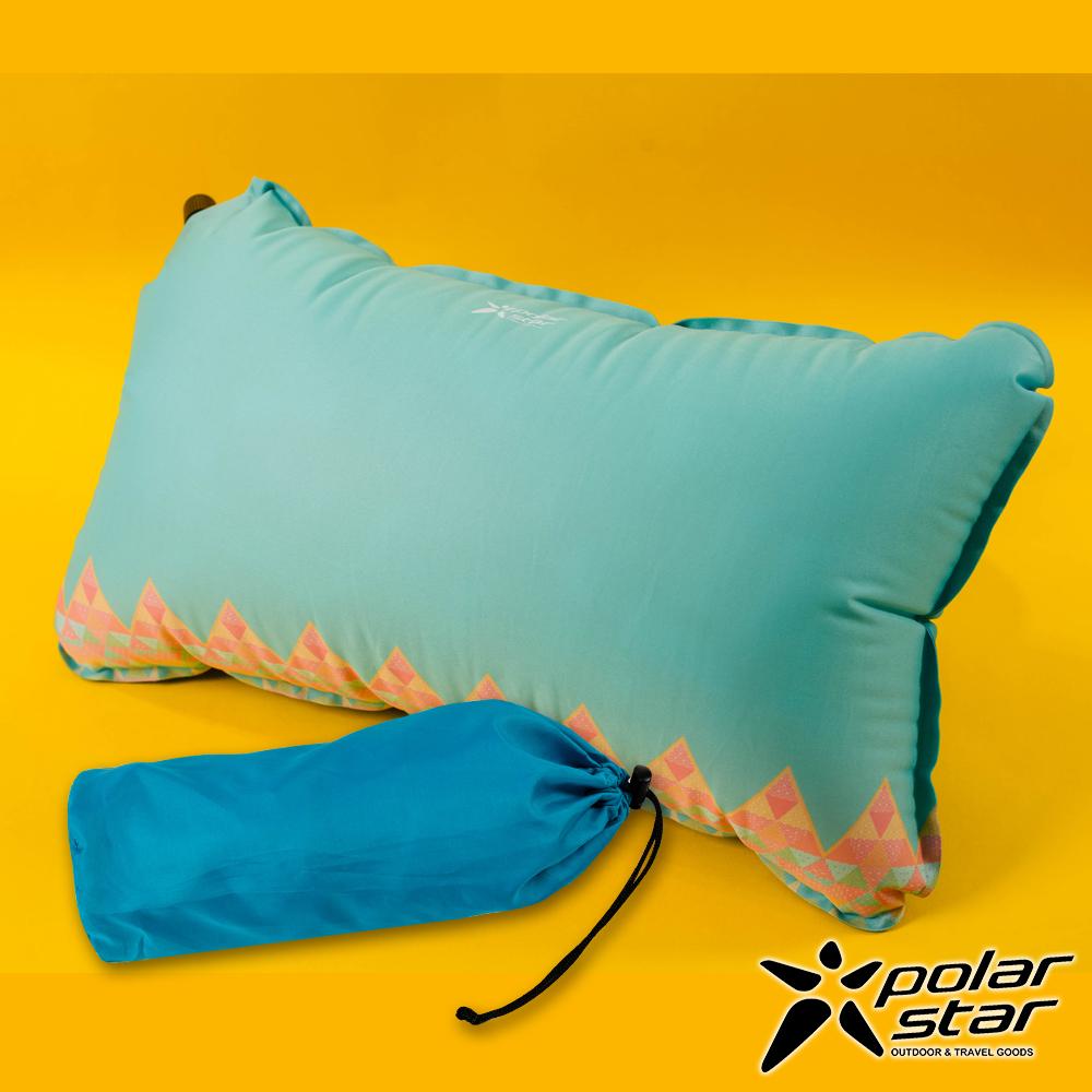 【PolarStar】花漾自動充氣枕│午睡枕│腰靠枕『水藍』P17737