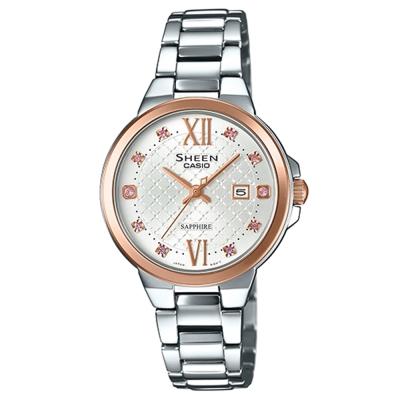 SHEEN 奢華系列羅馬時刻藍寶石玻璃日曆腕錶(SHE-4524SPG-7A)-金框31.1mm