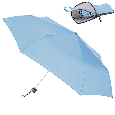 2mm Original拼色通勤輕量手開傘_附拉鍊式吸水傘袋 (淺藍)