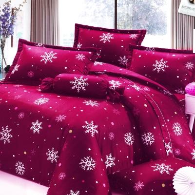 Carolan-雪花-紅 台灣製加大五件式純棉床罩組