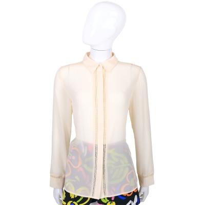 BLUGIRL 粉裸色簍空滾邊設計長袖襯衫