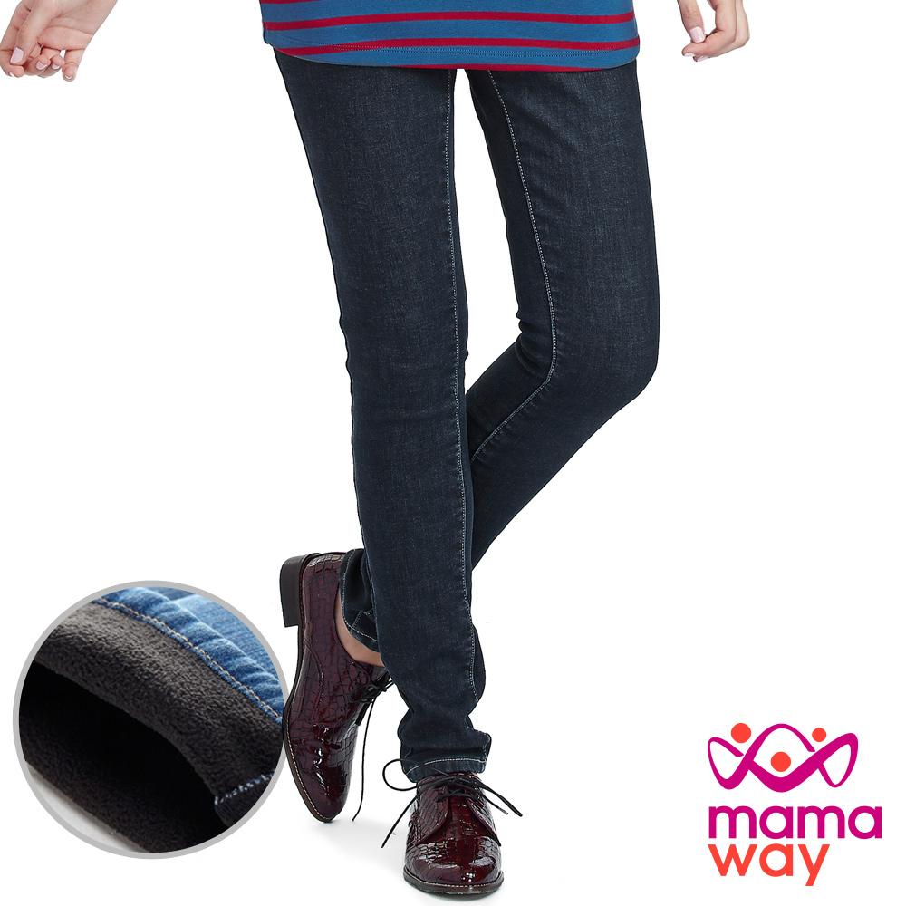 Mamaway 孕期厚刷毛窄管牛仔褲(共二色)
