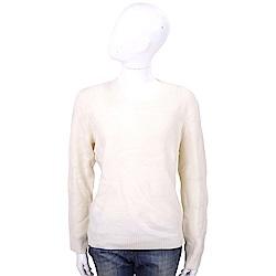 BURBERRY 米白圓領喀什米爾羊毛針織衫(70%WOOL)
