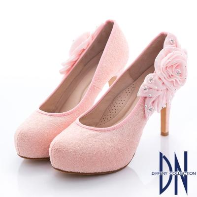 DN 婚宴系列 焦點金蔥花漾水鑽跟鞋-粉