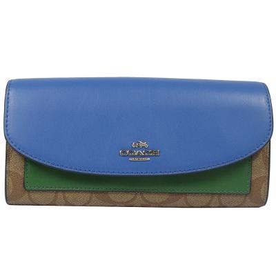 COACH LOGO PVC拼接牛皮兩折式長夾(藍綠)