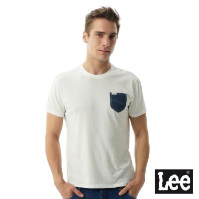 Lee 牛仔口袋短袖圓領TEE -男款-白