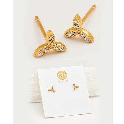 GORJANA 希臘月桂葉 鑲鑽三瓣金耳環 Olympia Shimmer Cluster