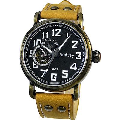 Audrey 歐德利 空軍爭霸 鏤空設計機械錶(AUGM5659)-古銅金x咖啡/42mm