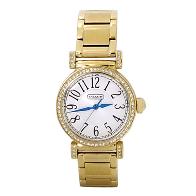 COACH 金燦水鑽鑲邊不鏽鋼按壓扣式女錶/ 25 mm