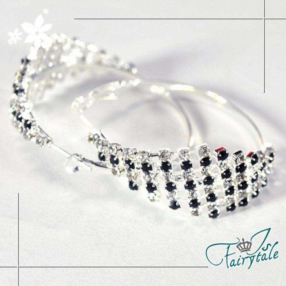 iSFairytale伊飾童話 黑白琴鍵 排鑽弧形耳環