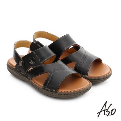 A.S.O 輕量樂活 真皮可調式後帶涼拖鞋 黑色