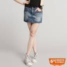 5th STREET 美型焦點牛仔短裙 -女-拔洗藍