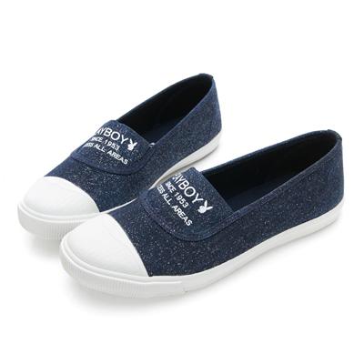 PLAYBOY繽紛彩糖 銀蔥帆布休閒便鞋-藍