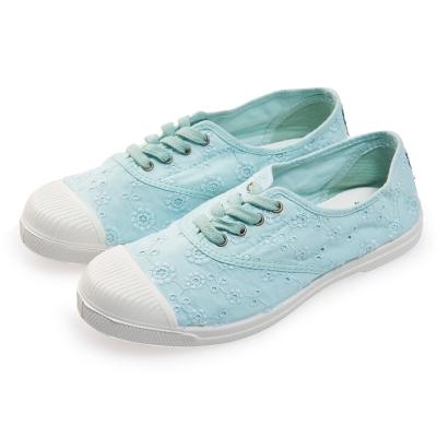 (女)Natural World 西班牙休閒鞋 印花4孔基本款*淺藍