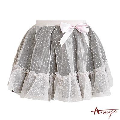 Anny甜美蝴蝶結網紗緞質蓬蓬短裙*3258粉