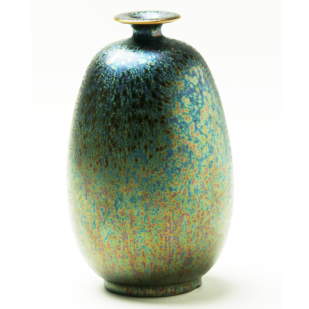 錳七彩結晶釉瓷器(小冬瓜瓶)