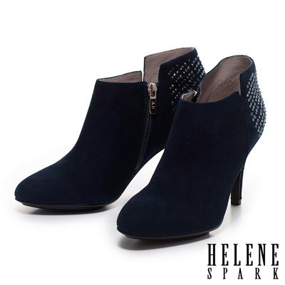 踝靴-HELENE-SPARK-閃耀美鑽不對稱設計羊麂皮踝靴-藍