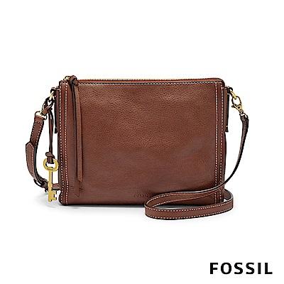 FOSSIL EMMA 真皮小方包-咖啡色