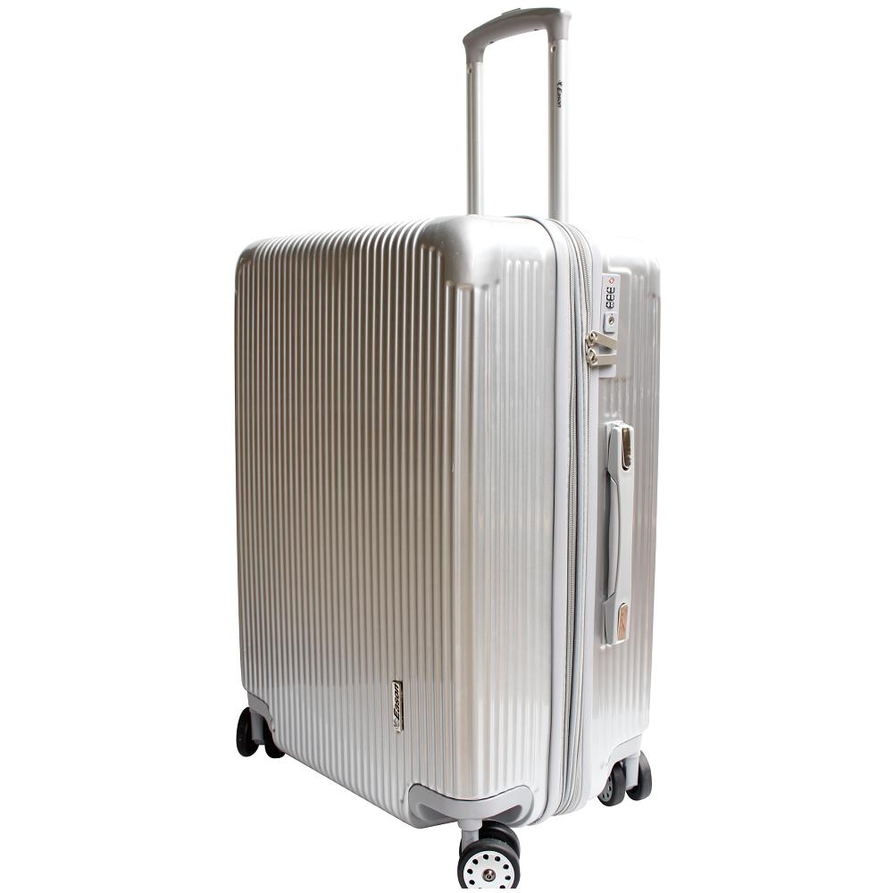 YC Eason 簡約時尚24吋PC可加大海關鎖行李箱-銀爵士