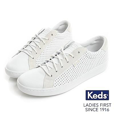 Keds ACE 沖孔洞洞皮質綁帶休閒鞋-白