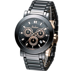 Diadem 黛亞登巴黎時尚計時陶瓷腕錶-黑/41mm