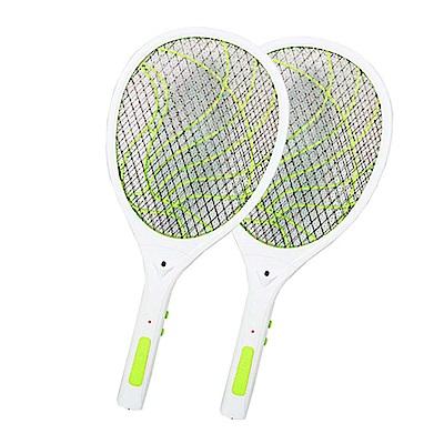 (2入組)KINYO 雙重充電式三層防觸電捕蚊拍電蚊拍(CM-2237)蚊蠅跑不掉