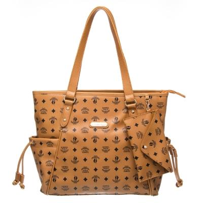 【XINWEI POLO】奢華LOGO風雙側口袋抽繩包附零錢包(8129)-棕色