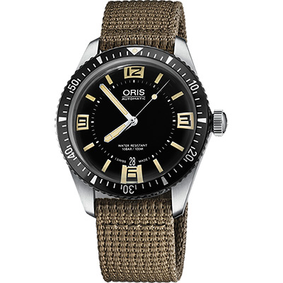 Oris Divers Sixty-Five 1965復刻潛水機械錶-黑x卡其/40mm