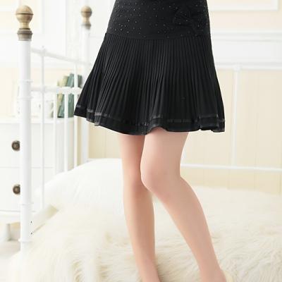 La-Belleza美型提升-俏麗水鑽蝴蝶結波浪螺旋百摺裙