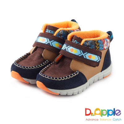 Dr. Apple 機能童鞋 麂皮暖暖經典圖騰短靴款 深咖