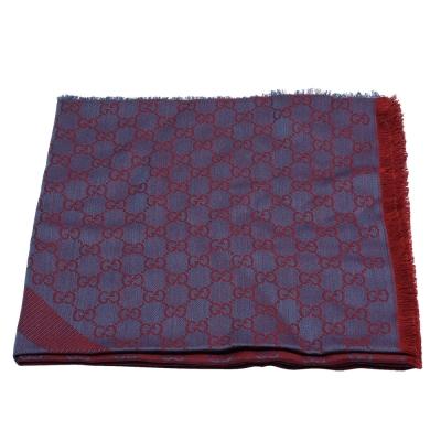 GUCCI 經典GG緹花線條羊毛混絲斜紋雙色流蘇披巾/圍巾(紫X紅)