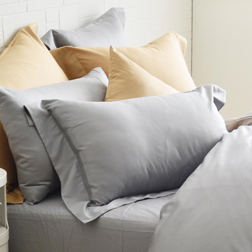 Cozy inn 極致純色-淺灰-300織精梳棉枕頭套-2入
