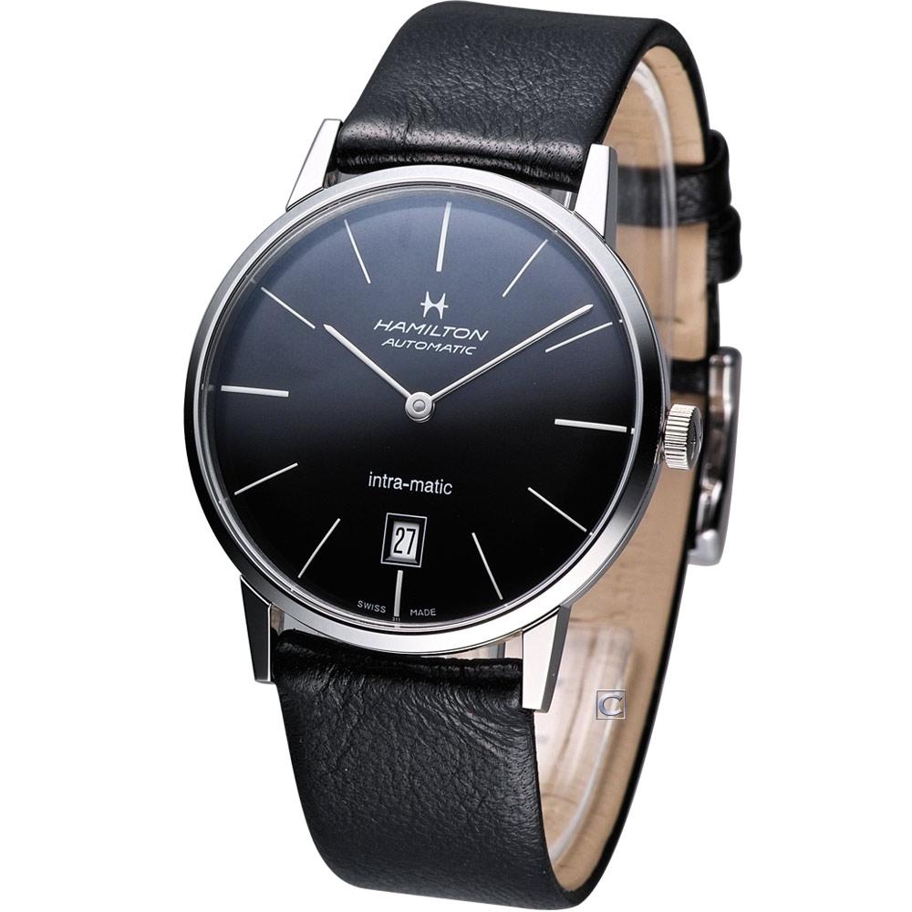 Hamilton Intra-Matic 優雅復刻皮帶機械腕錶-黑/38mm